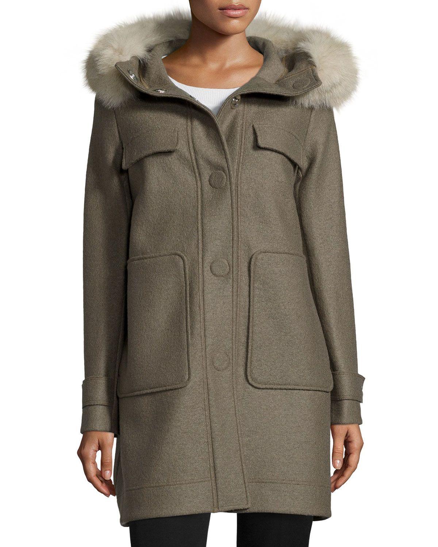 Snap-Front Coat W/ Fox Fur Hood, Green, Size: 38, Lontra - Peuterey