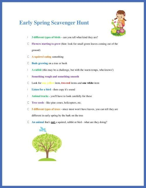 photograph relating to Nature Scavenger Hunt List Printable called Outside Spring Scavenger Hunt for Children totally free printable checklist