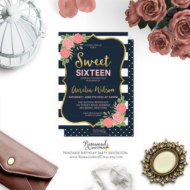 Printable Sweet 16 Invitation Fl Birthday Invite