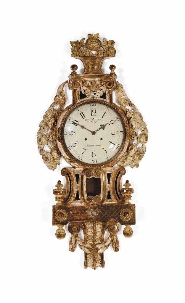 A Swedish Louis Xvi Giltwood Cartel Clock Late 18th Century The