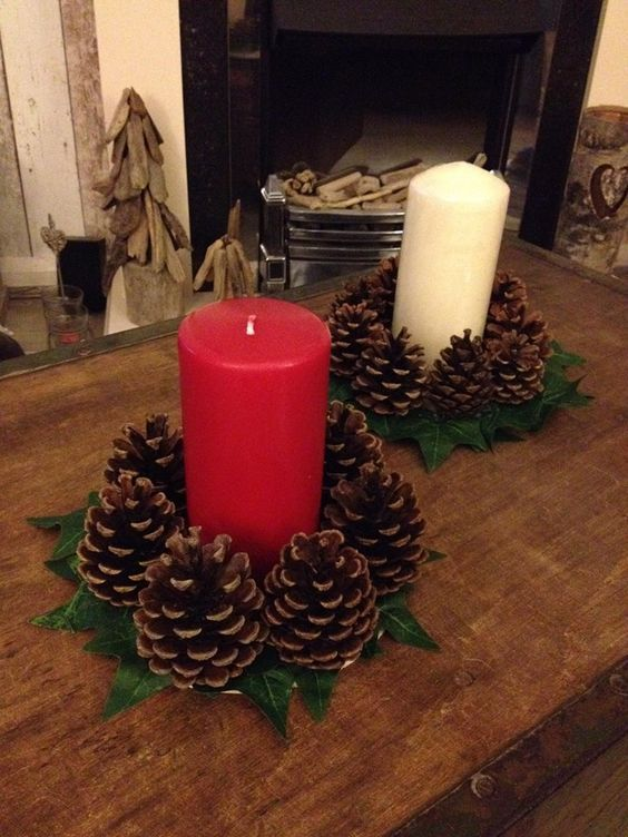 bougeoires pomme de pin #candles