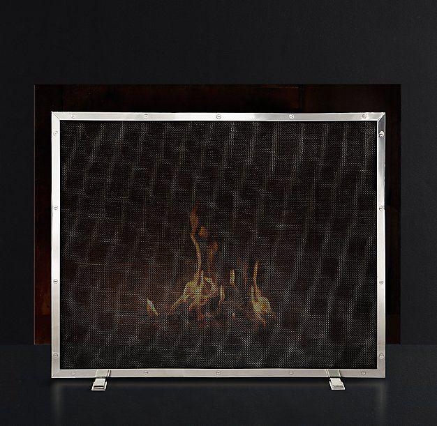Courchevel Fireplace Mesh Screen Panel Polished Nickel Mesh