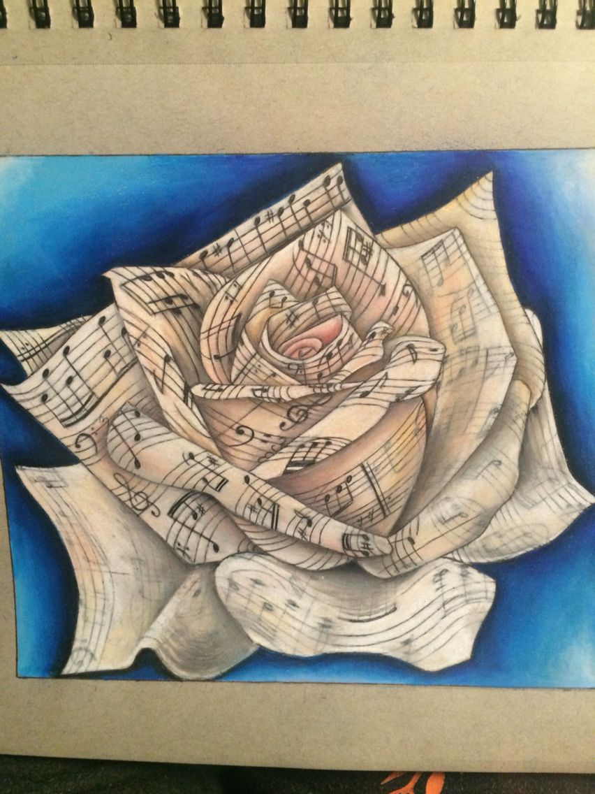 Music notes On white rose Handmade drawing 9 in. X 12 in