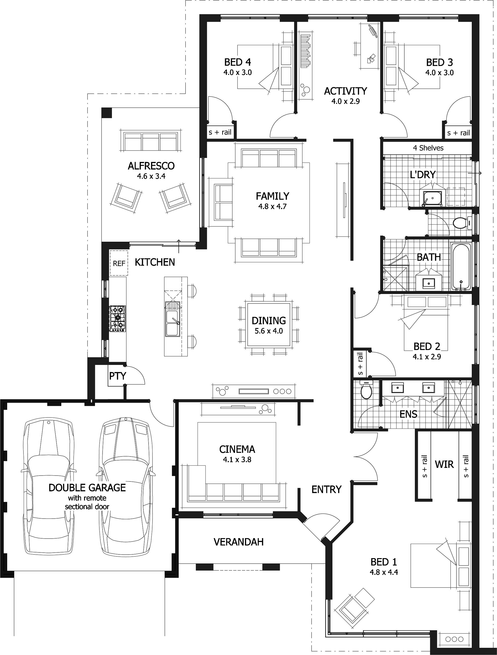 Find a 4 bedroom home that 39 s right for you from our for Four bedroom house plans