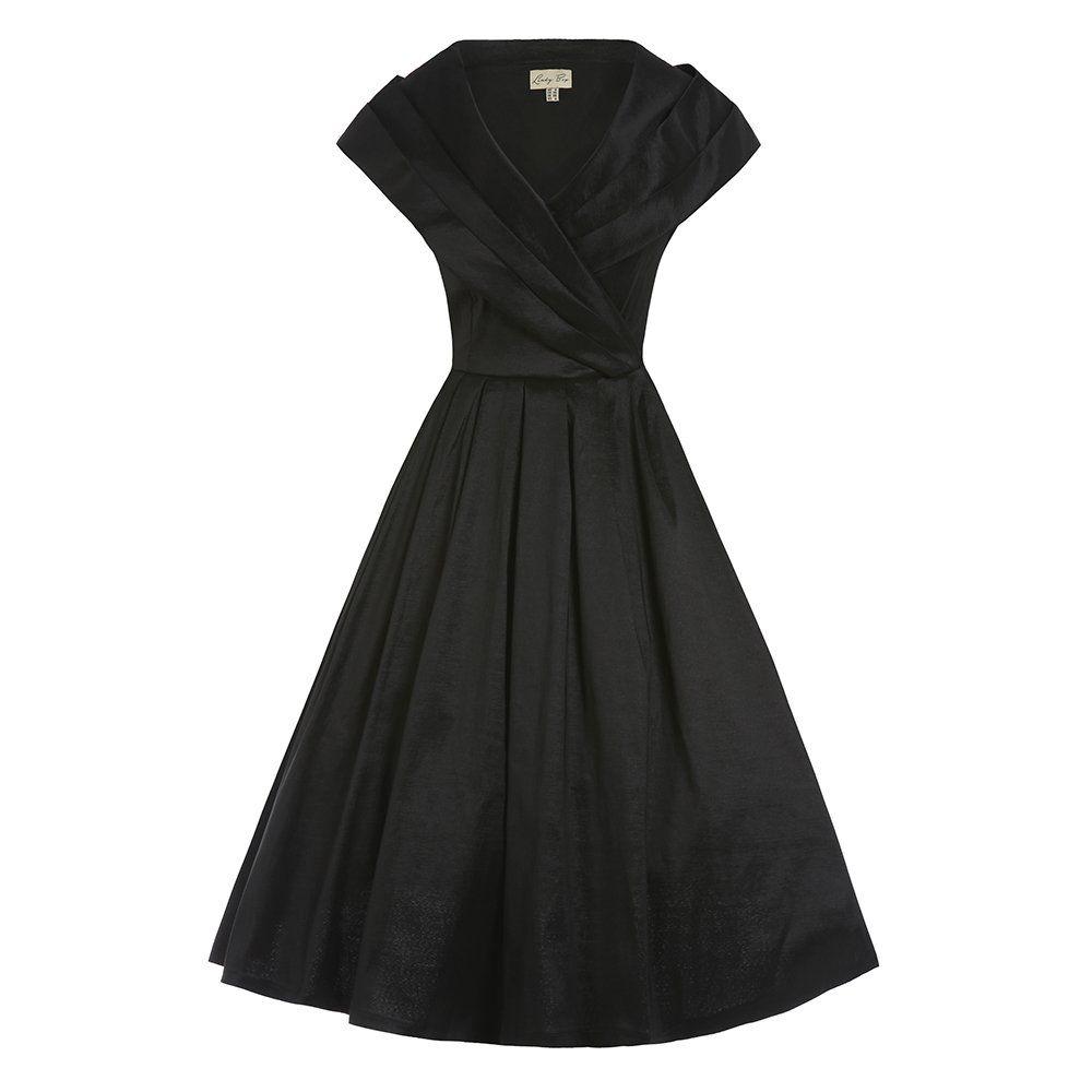 Black dress vintage - Amber Black Occasion Swing Dress Vintage Style Fashion Lindy Bop