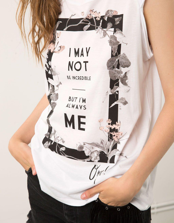 Design your own t shirt hong kong - Bershka Printed T Shirt With Turn Up Sleeve T Shirts Bershka United Kingdom