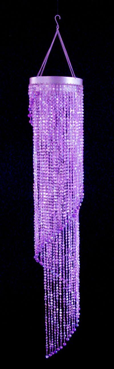 Purple lamp on pinterest purple chandelier yellow for Purple beaded lamp shade