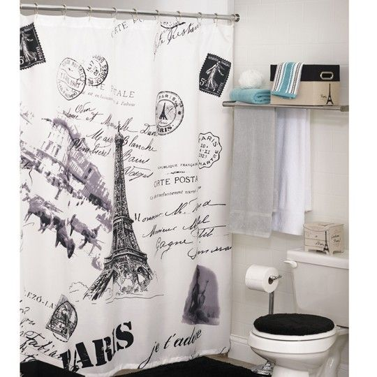Eiffel tower shower curtain from anna 39 s linens need this for Eiffel tower bathroom accessories