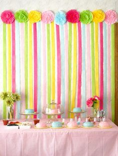 We can make candy a on top and dangle the streamer under Life is Beautiful Chef birthday party cake decorating and paper streamer backdrop & fiesta decoration ideas - Google Search | Birthday parties | Pinterest