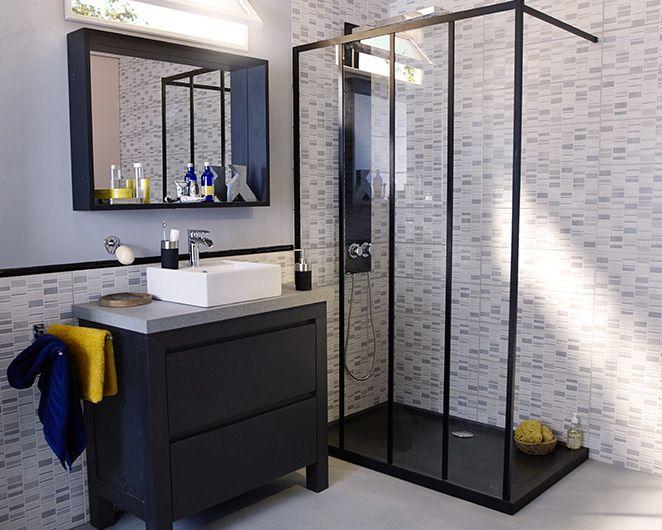 castorama : meuble de salle de bains harmon. style industriel pour