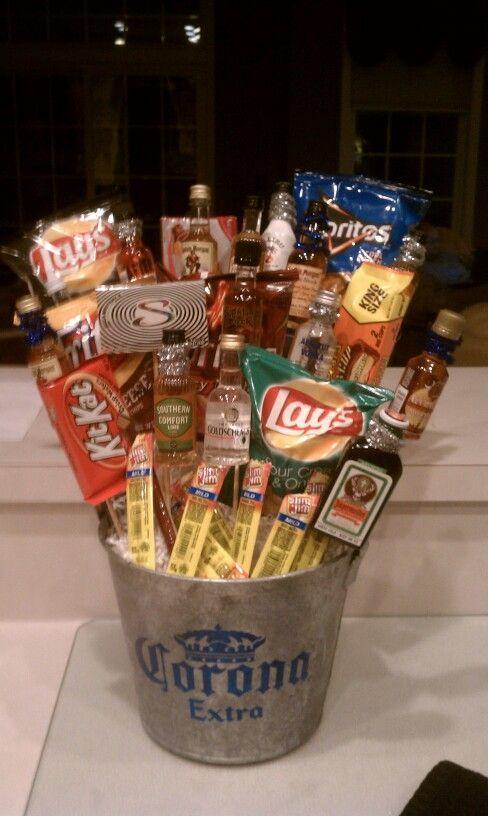 21st Birthday Gift Basket Alcohol : St birthday gift small liquor bottles and snacks