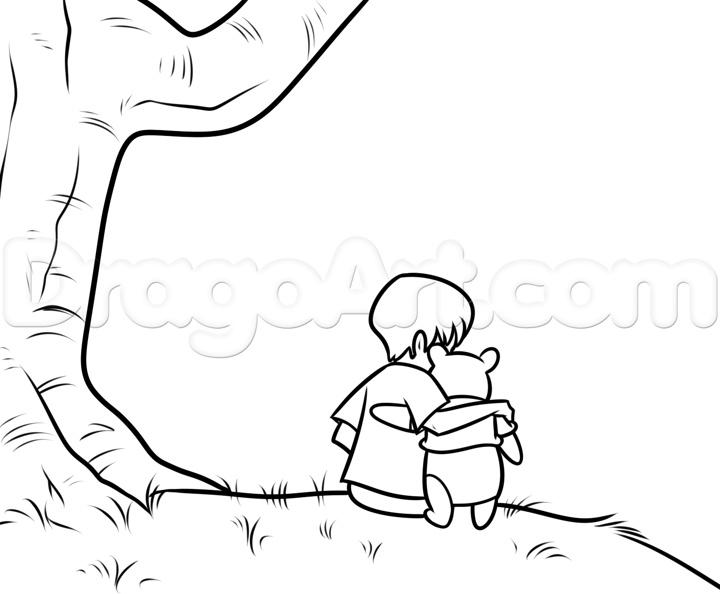 Step 10. How to Draw Christopher Robin and Winnie the Pooh | Crafty ...