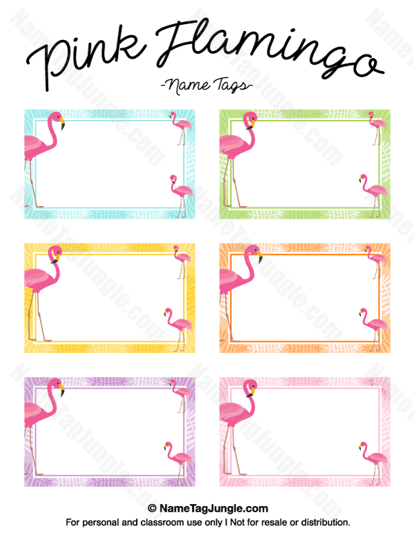 Free printable pink flamingo name tags. The template can also be ...