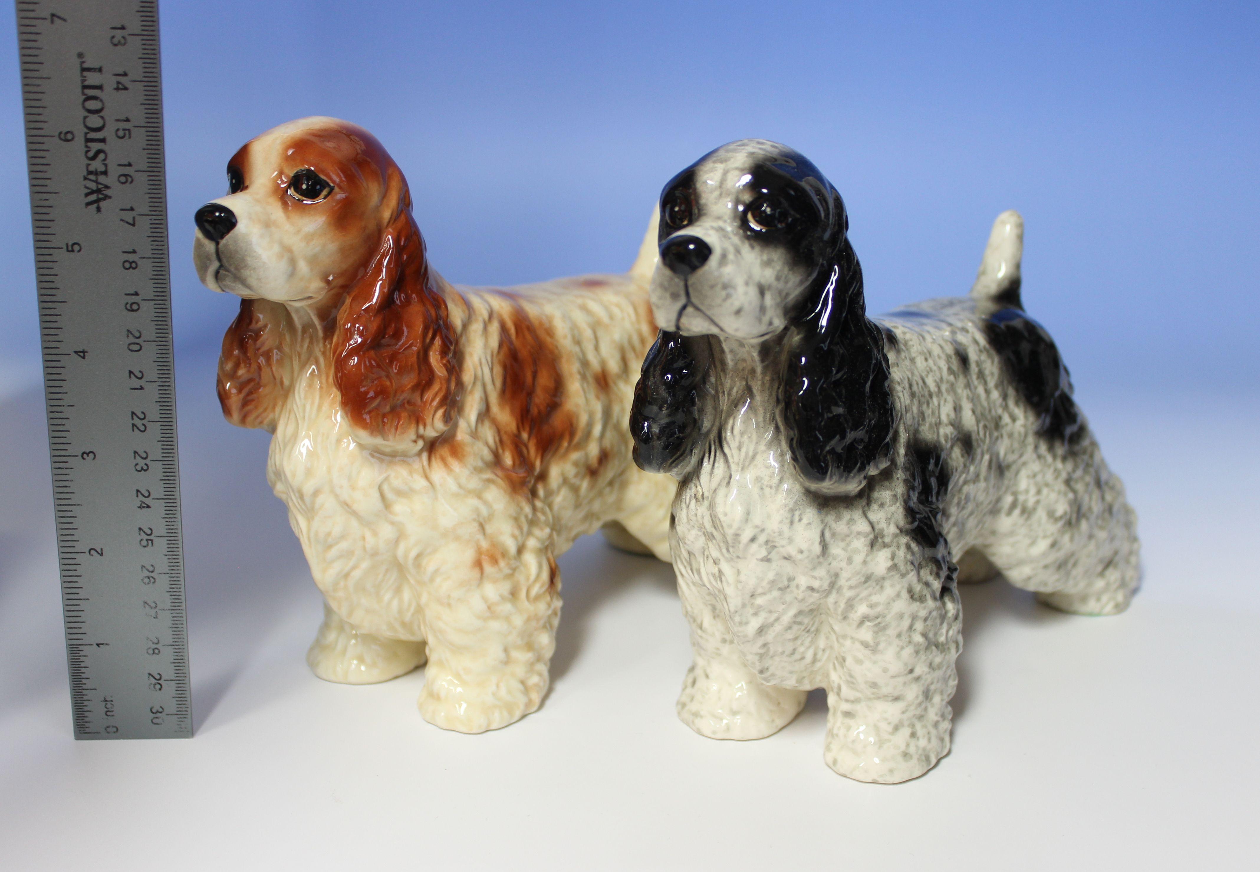 Cocker Spaniel Blue Roan Orange Roan Black White Red White Ticking Speckled Show Dog 8 5 L Porcelain Dog Figuri Porcelain Dog Spaniel Art Dog Sculpture