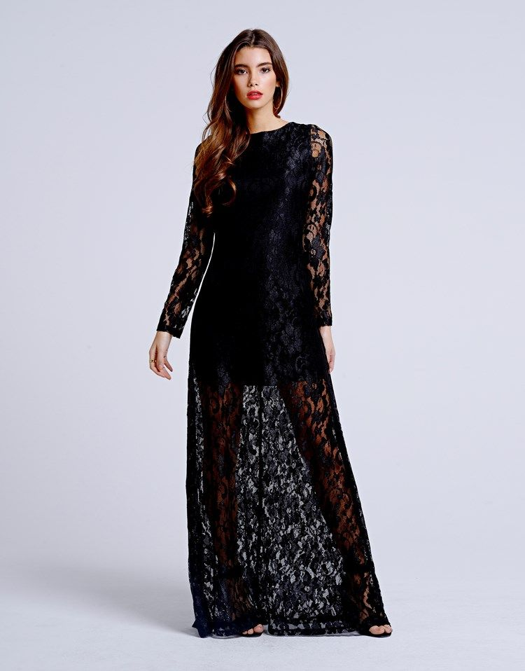 1b8918f6cd20 A black chiffon maxi dress with lace overlay and long sleeves ...