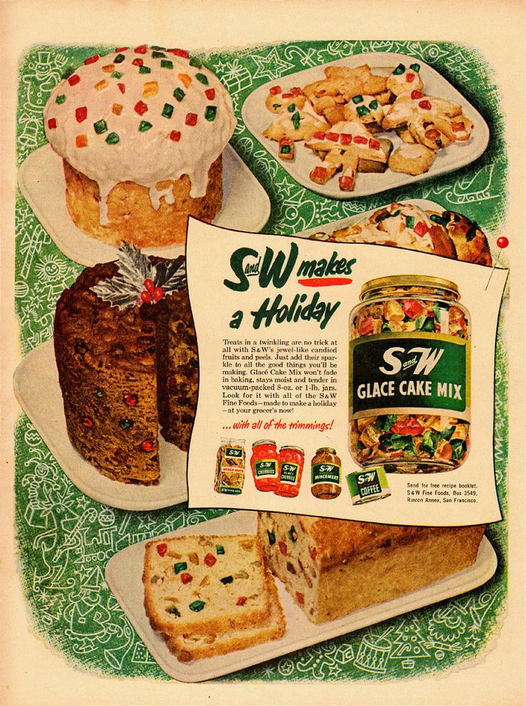 1950 Vintage Ad, S And W Glace Cake Mix, Christmas Cookies And Cake