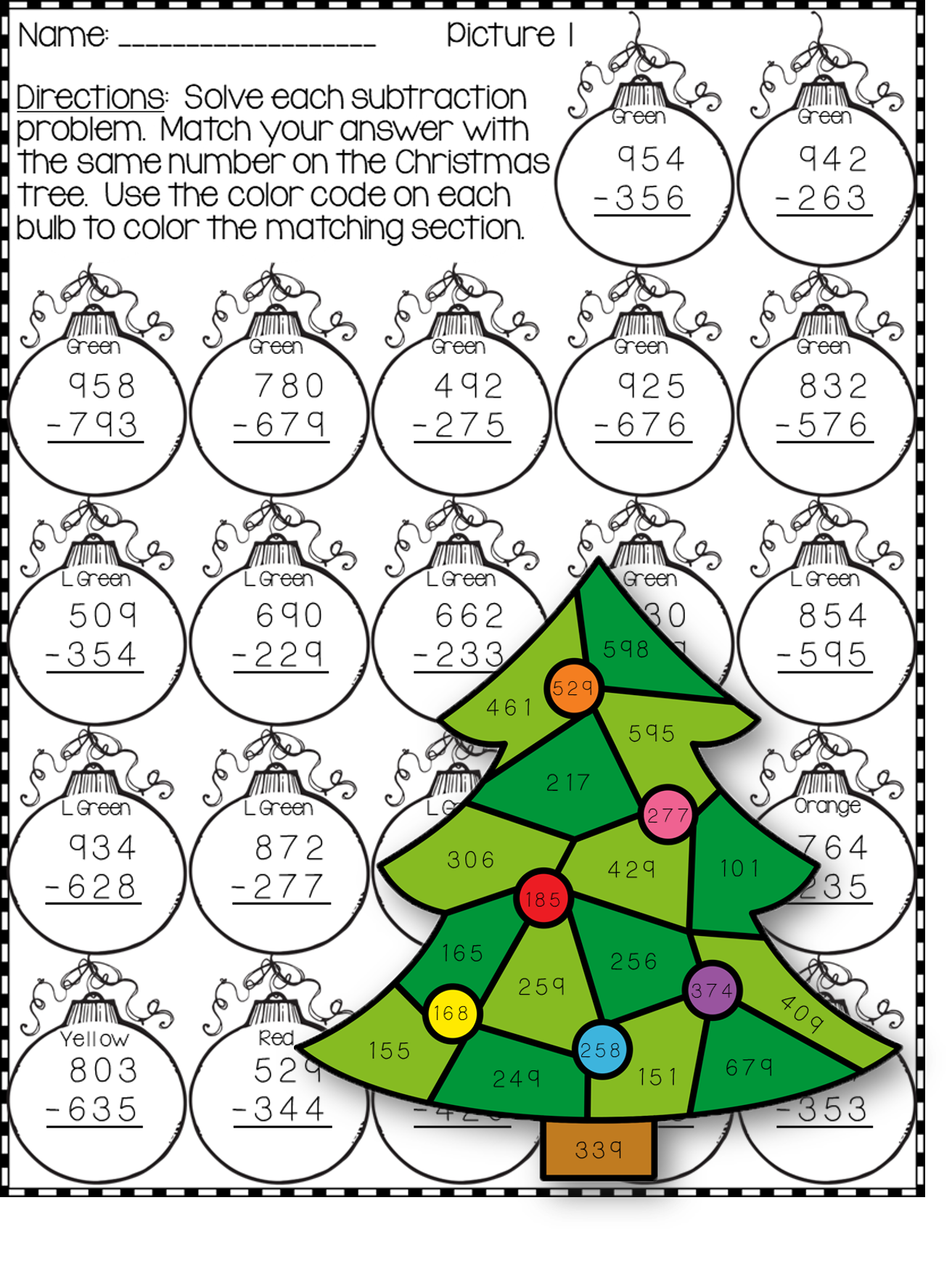 Christmas 3 Digit Subtraction Color By Code Printables
