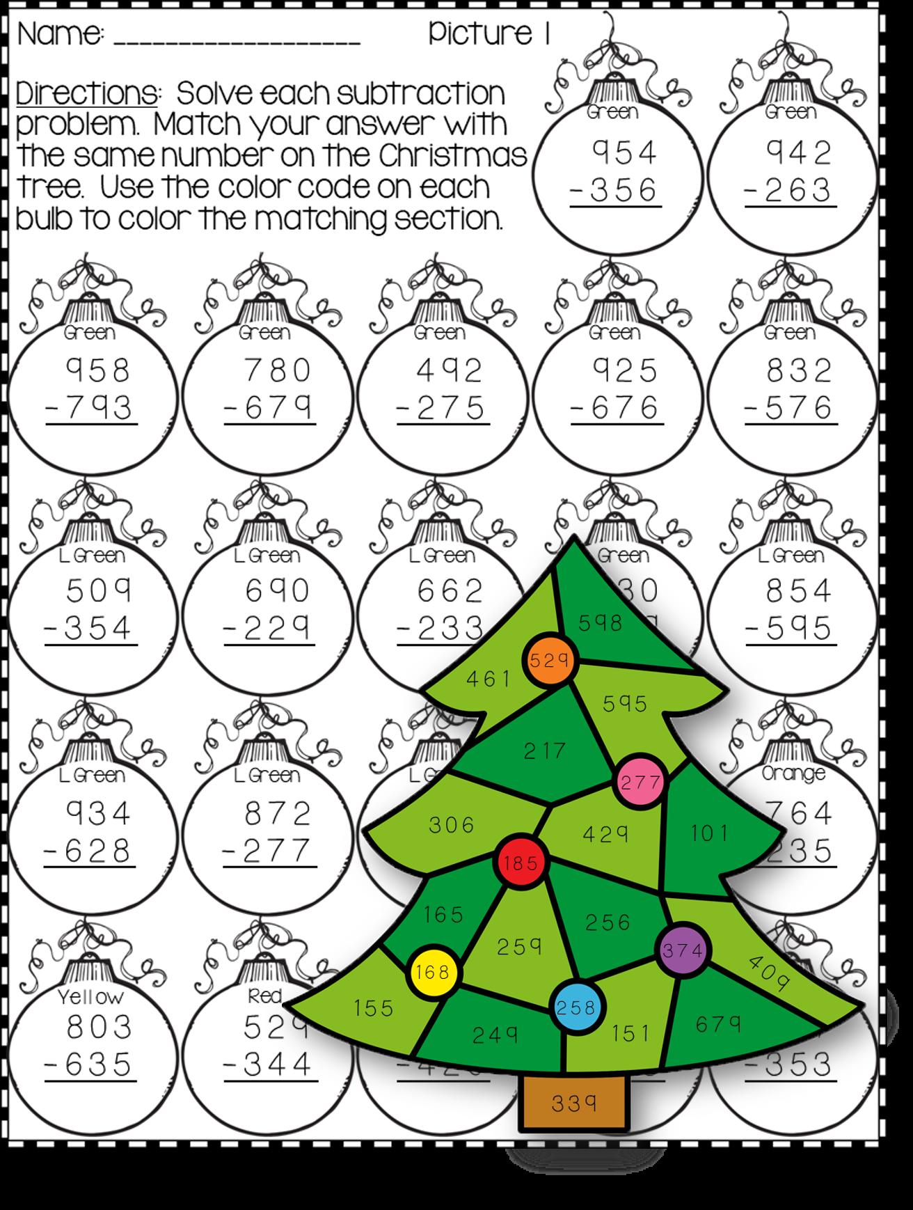 3 Digit Subtraction Worksheet Christmas