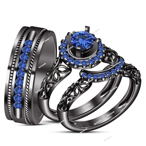 Trio Engagement Ring Blue sapphire 14k Black Gold Plated 925 Sterling Silver . Starting at $1