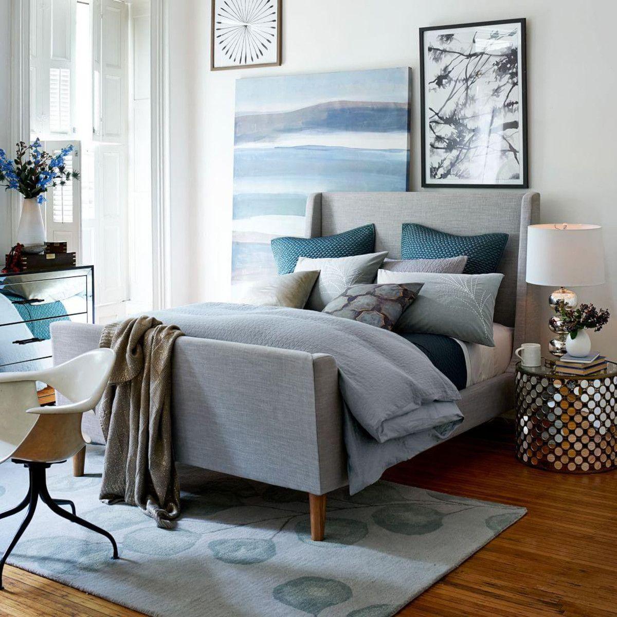 West Elm upholstered sleigh bed £799 £1099 Upholstered