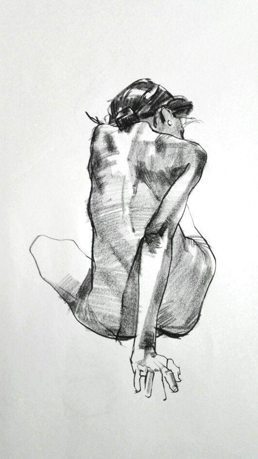 Aaron Coberly Seated Discreet Nude Female Back Anatomy Sketch