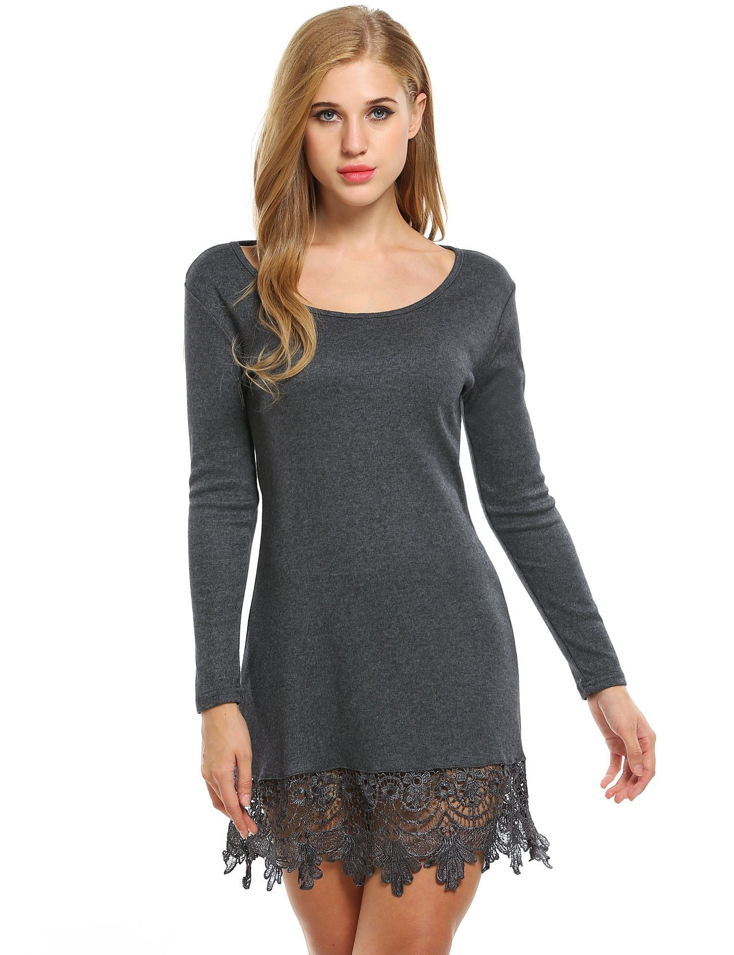 Grey women fashion casual long sleeve lacetrimmed aline short