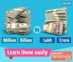 Learn about Million, Billion, Trillion vs Lakh, Crore
