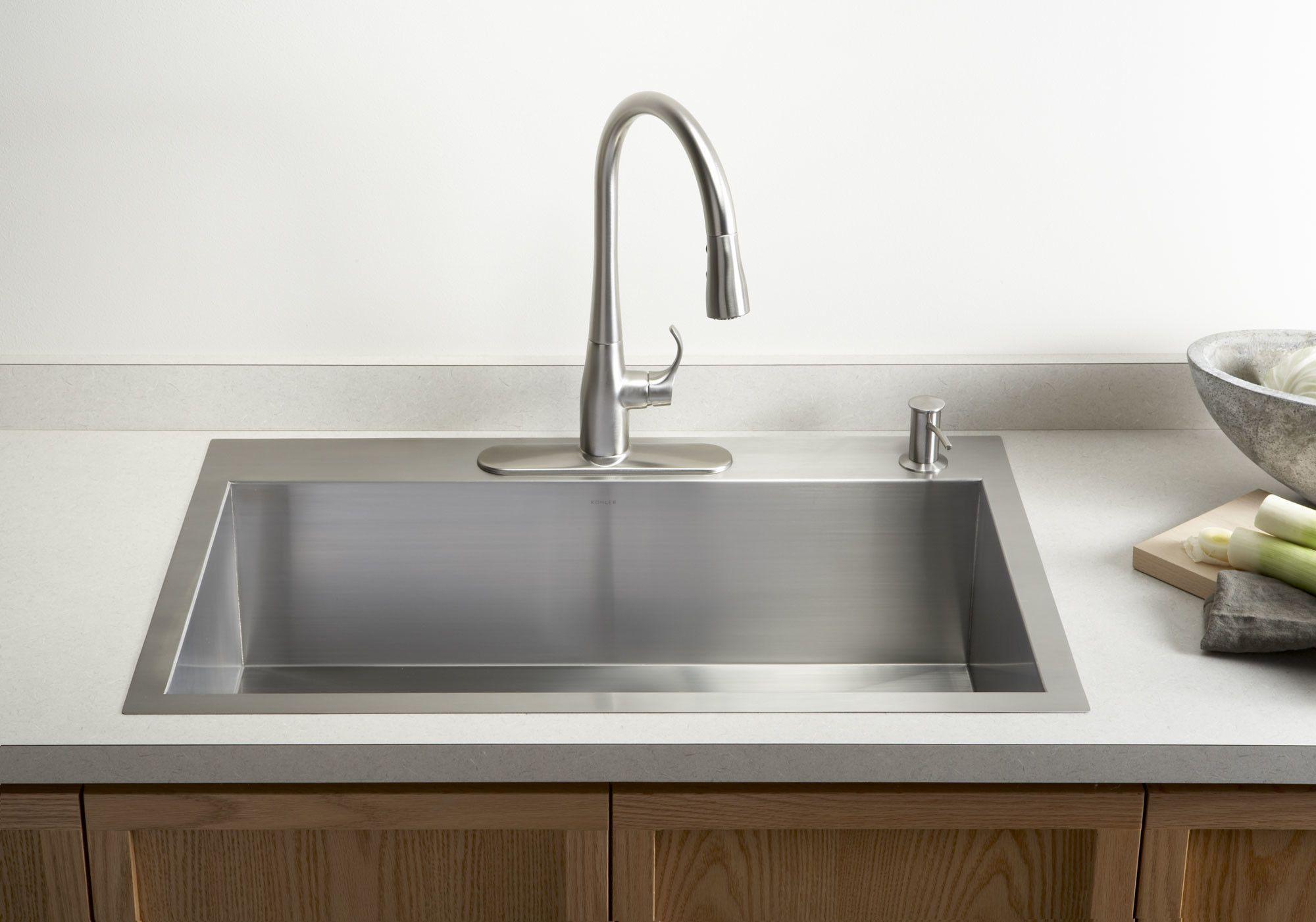 Vault 33 L X 22 W X 9 5 16 Top Mount Under Mount Large Single Bowl Kitchen Sink With Single Faucet Hole Best Kitchen Sinks Single Bowl Kitchen Sink Undermount Kitchen Sinks