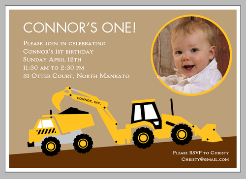 backhoe and dump truck birthday invitations! cute! | diggers and, Birthday invitations