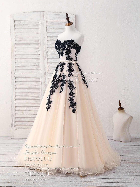 Black tulle lace applique long prom dress black evening dress