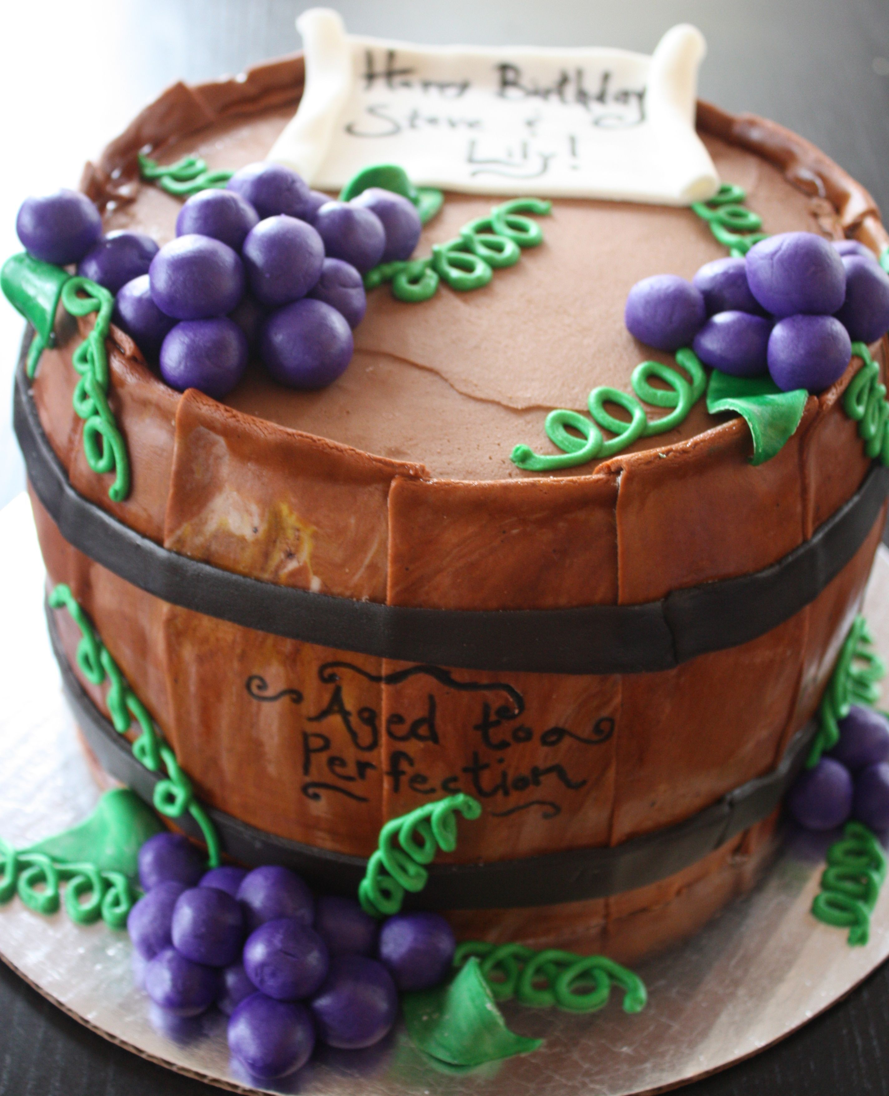 Wine Barrel Quot Aged To Perfection Quot Birthday Cake Birthday