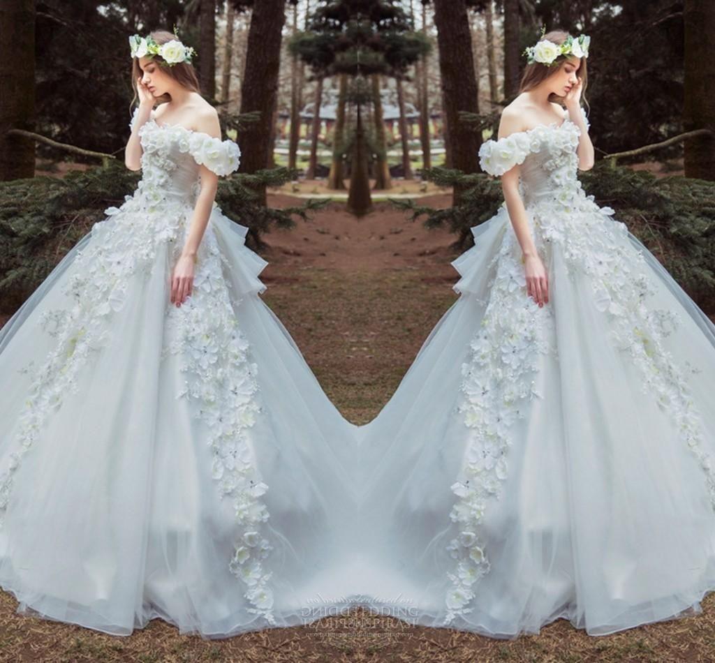 Amazing Handmade Flower Off Shoulder Wedding Dresses 2016 Spring ...