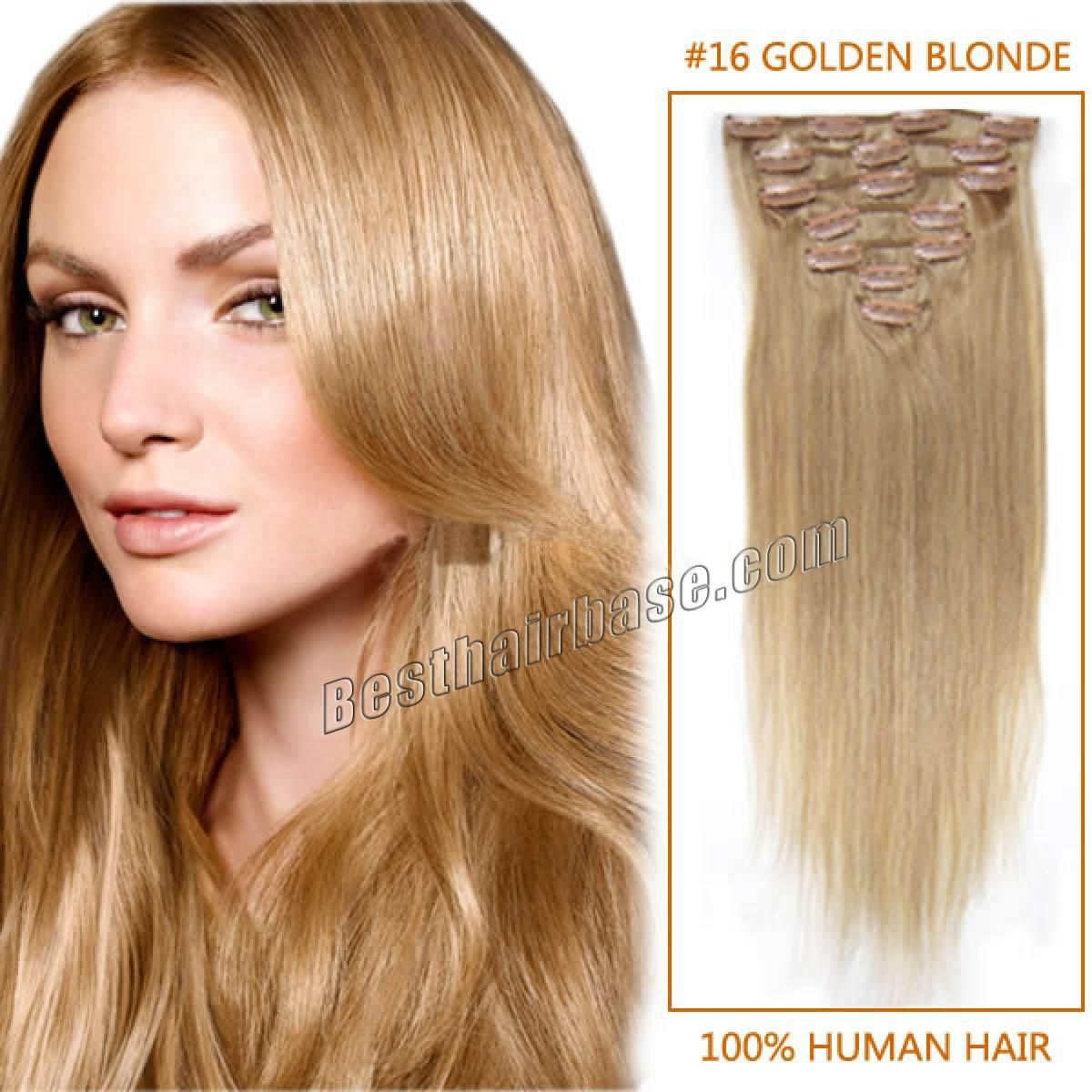 32 Inch Long Glossy Straight Clip In Remy Human Hair Extensions 16