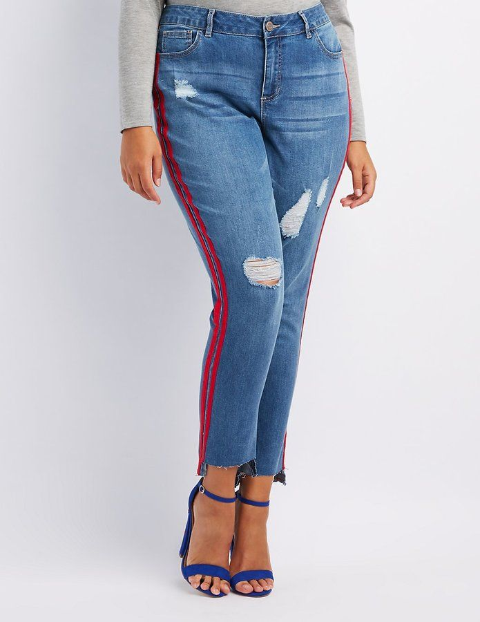 53266a1aeed2f Charlotte Russe Plus Size Striped Distressed Skinny Jeans