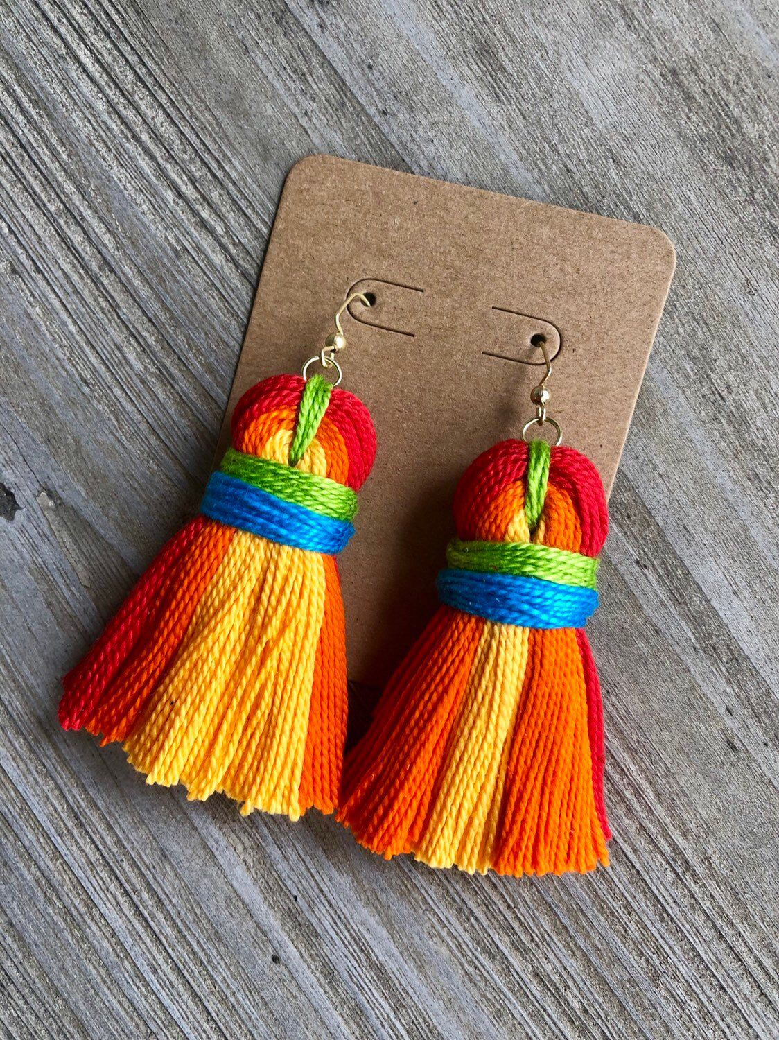 64d9852eb Excited to share this item from my #etsy shop: Rainbow Tassle Earrings  Tassel Necklace