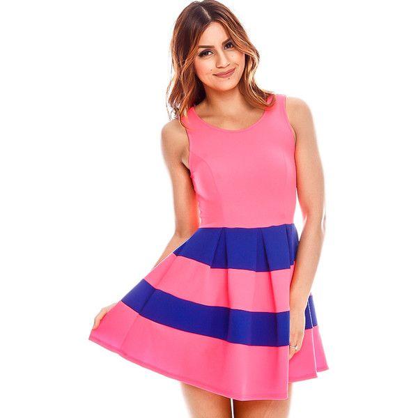 neon pink stripe design scoop neckline sleeveless party dress ($6.99 ...
