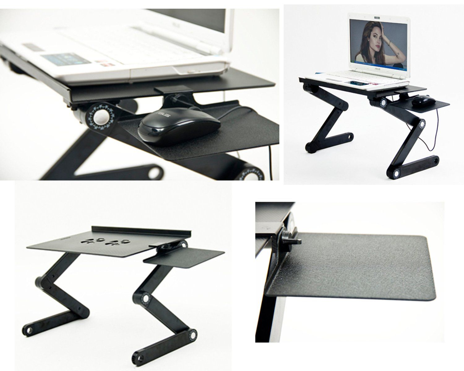 Adjustable Vented Laptop Table Laptop Computer Desk Portable Bed Tray Book A