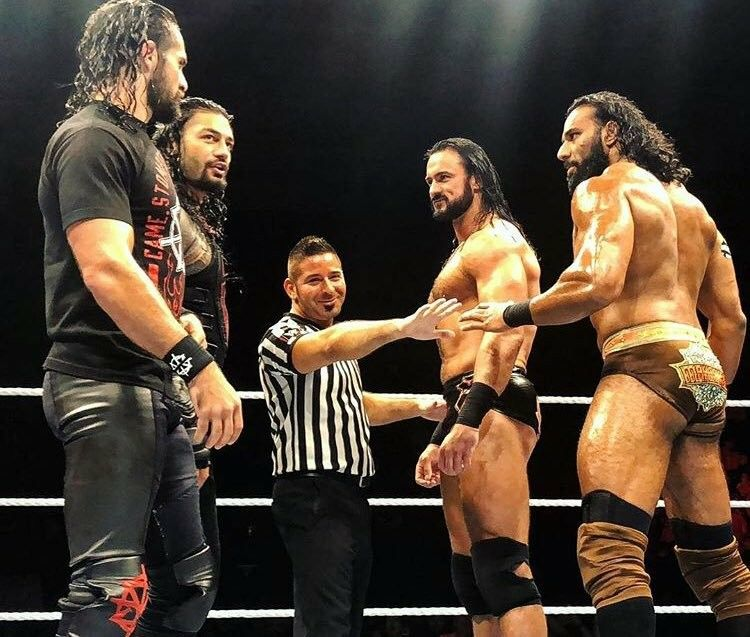 Roman Reigns And Seth Freakin Rollins Vs Jinder Mahal And Drew Mccyintyre Wwe Live Events Roman Reigns Wwe