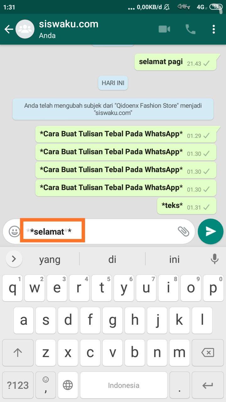 Cara Buat Tulisan Tebal Pada Whatsapp Qidoenx Blog Di 2020 Tulisan Teks Subjek
