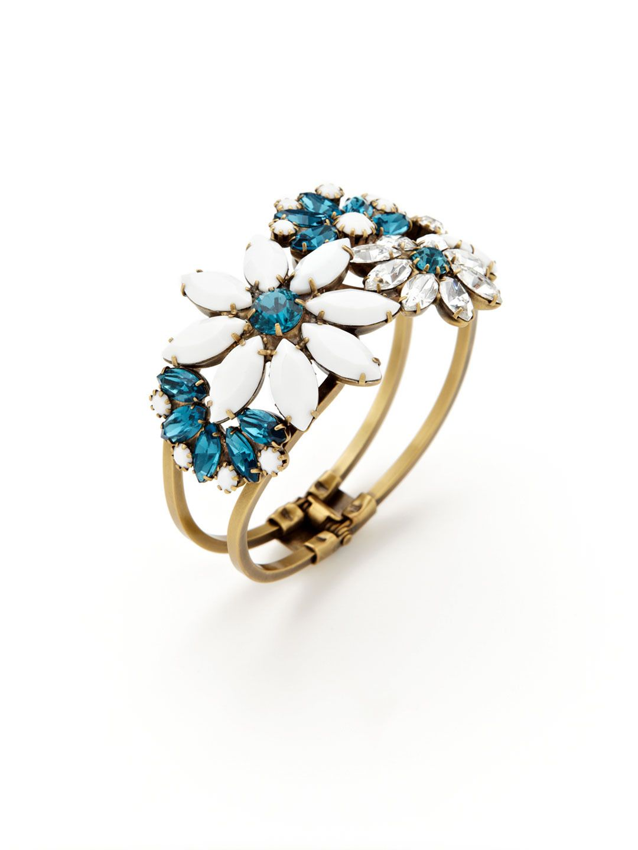 Elizabeth Cole | Swarovski Crystal Flower Cuff Bracelet