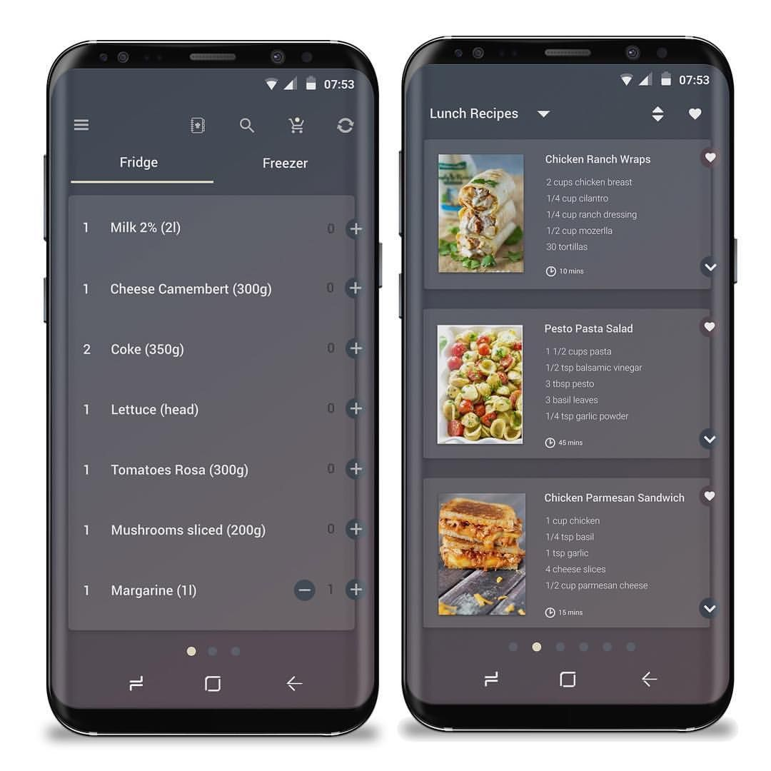 Android concept app that connects with a smart fridge to