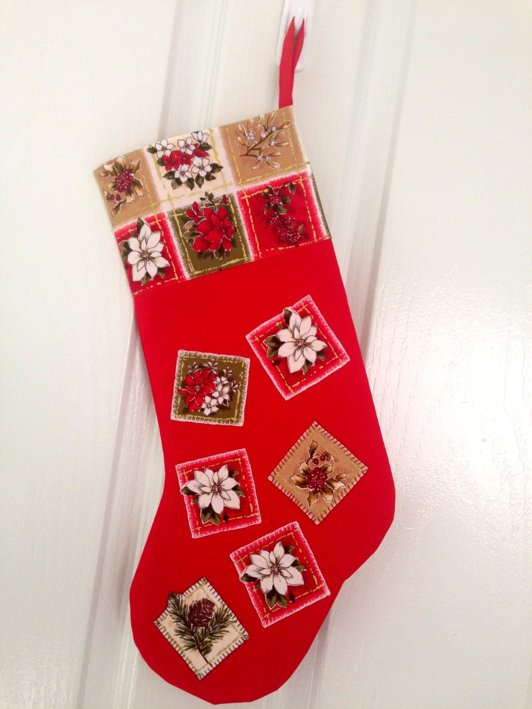 Red Appliquéd Christmas Stocking, Christmas Ornaments, Christmas ...