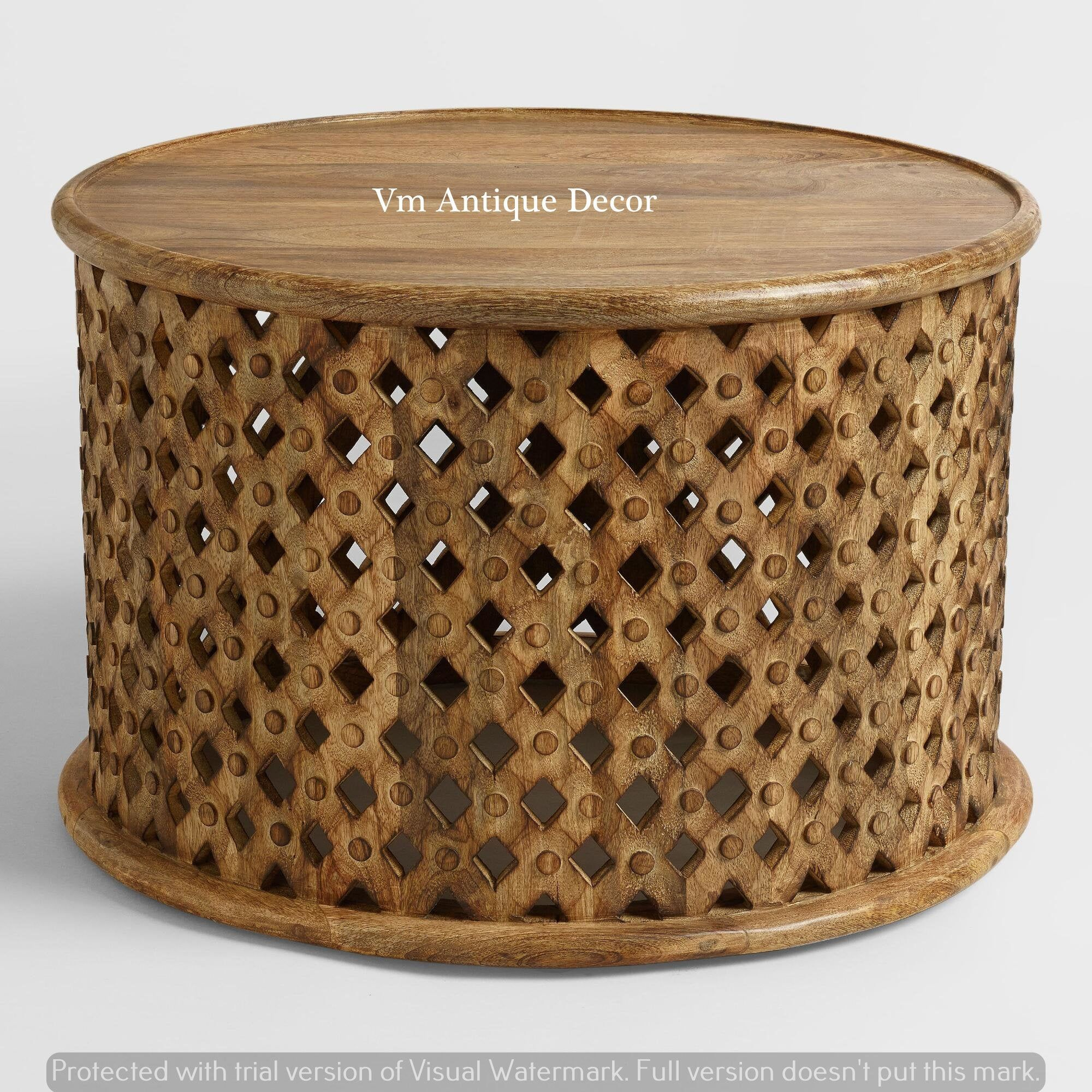 Wooden Handmade Indian Carving Coffee Table By Viratrahomedecor On Etsy In 2021 Coffee Table Wood Drum Coffee Table Coffee Table [ 2000 x 2000 Pixel ]