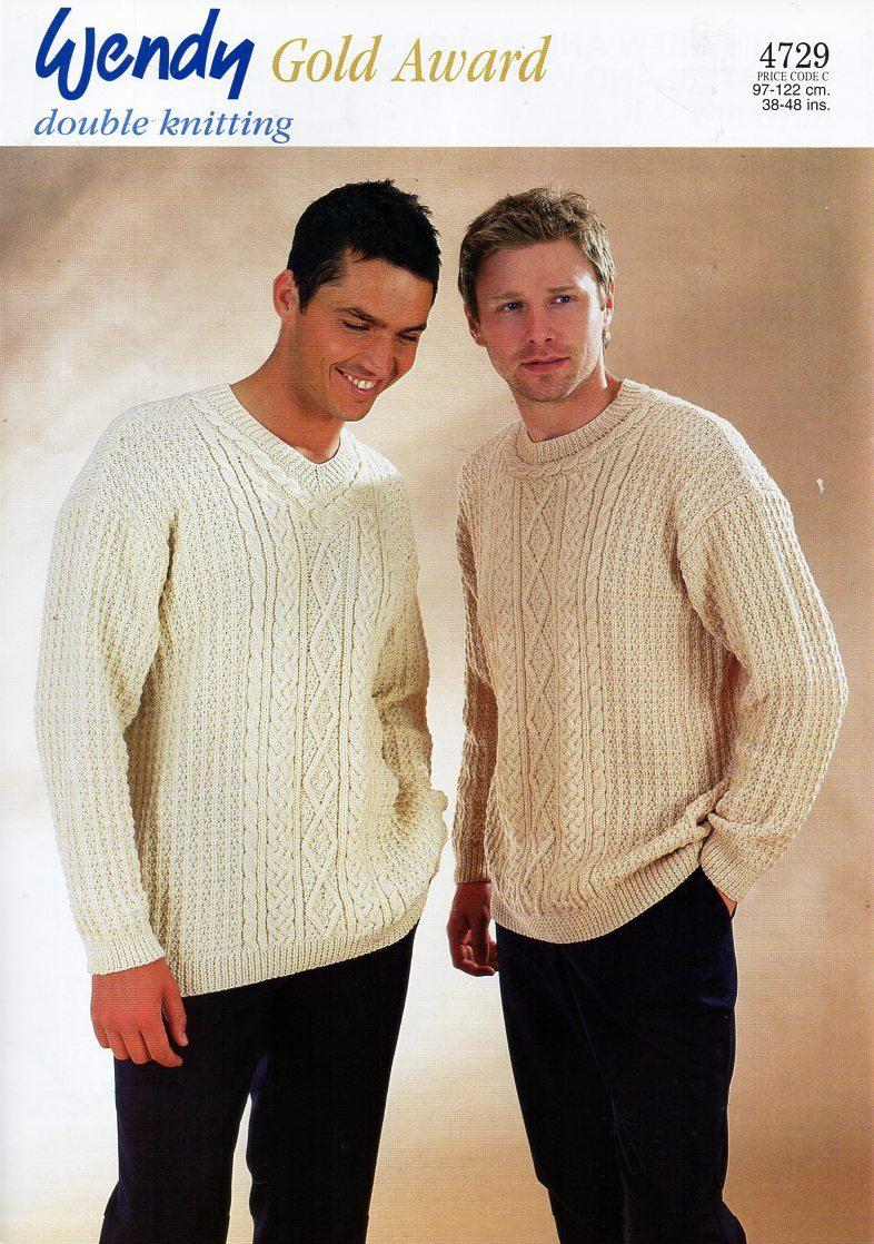 original mens aran sweaters waistcoat knitting pattern Wendy 4729 ...
