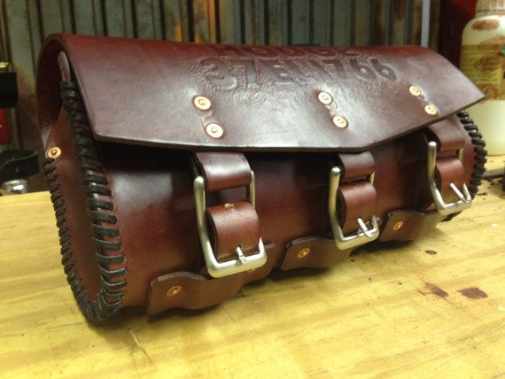 Motorcycle Exclusive Genuine Dark Brown Leather Tool Roll Bag Pouch