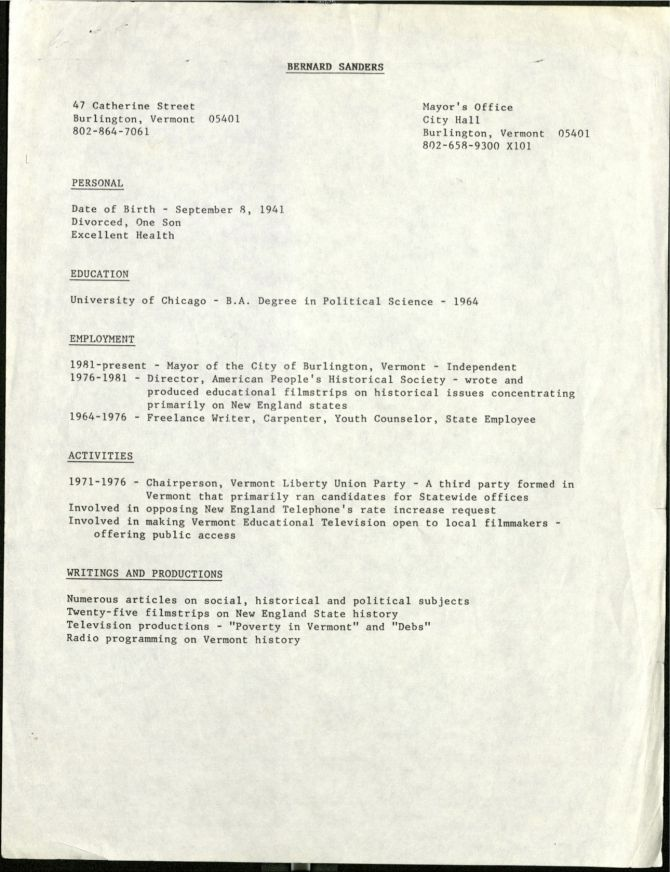 This old copy of Bernie Sandersu0027 résumé from the 1980s is extremely - copy letter format for closing policy