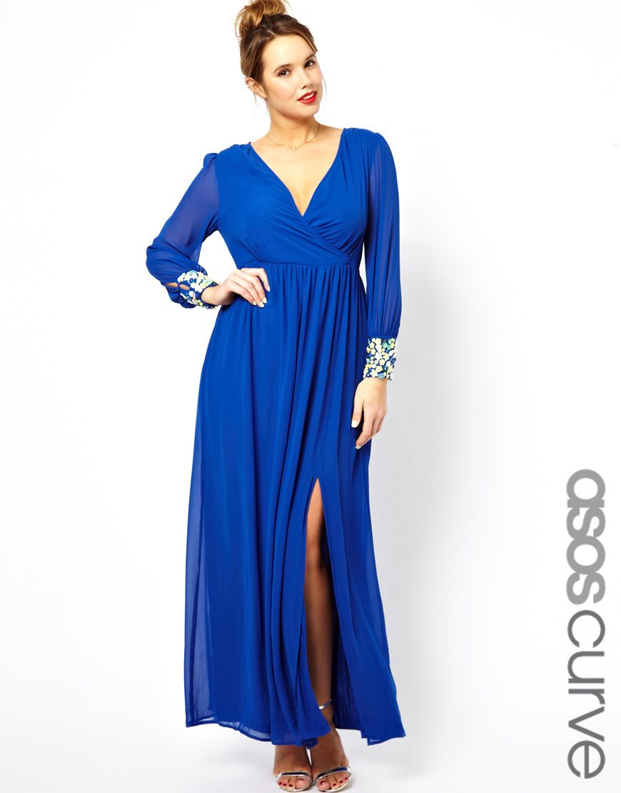 Exclusive salon maxi dress with embellished cuff blue plus size asos