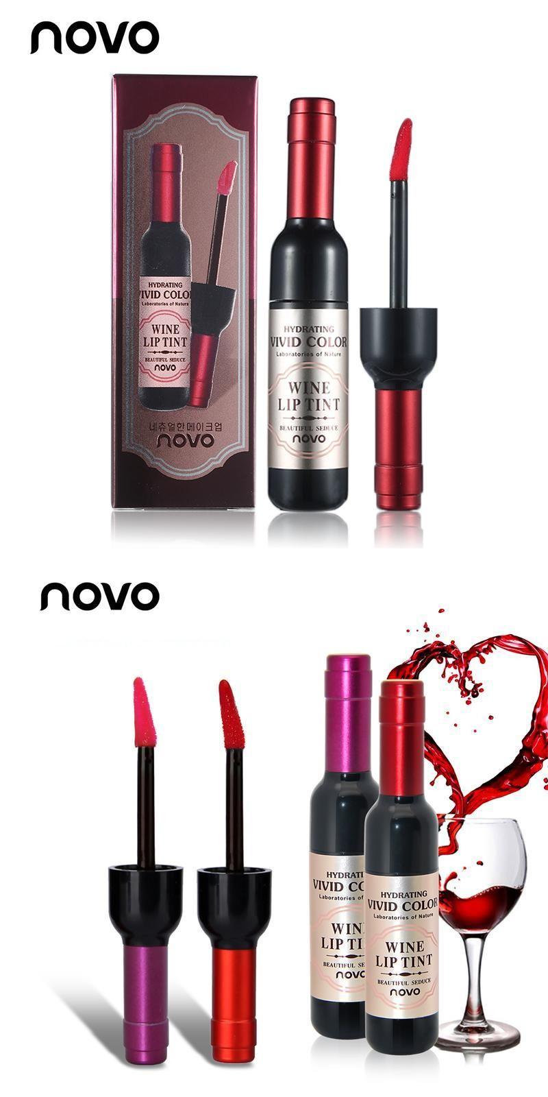 [Visit to Buy] NOVO Brand Lip Makeup Red Wine Lip Tint