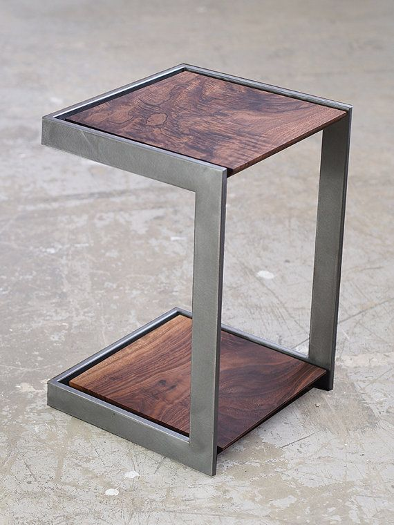 Suspended Wood And Metal End Table Modern Industrial Design