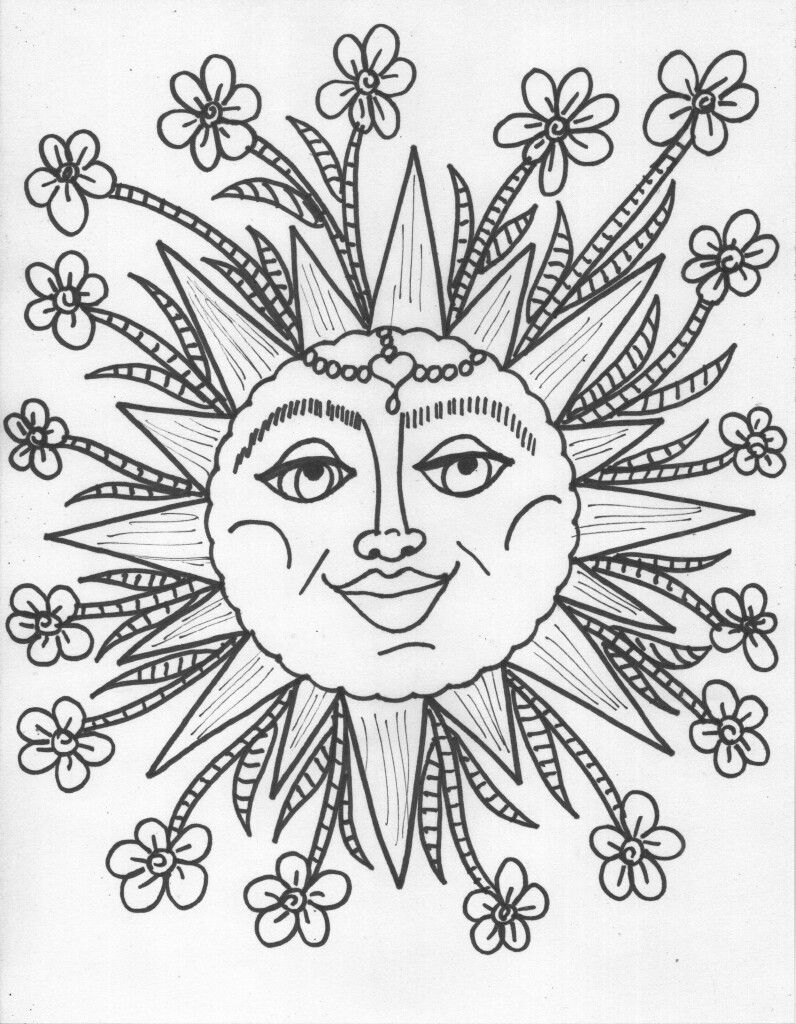 Pin By Stina On Hippie Coloring Pages Sun Coloring Pages Moon Coloring Pages Star Coloring Pages